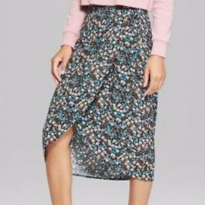 Wild Fable Target Floral Multicolor Wrap Skirt